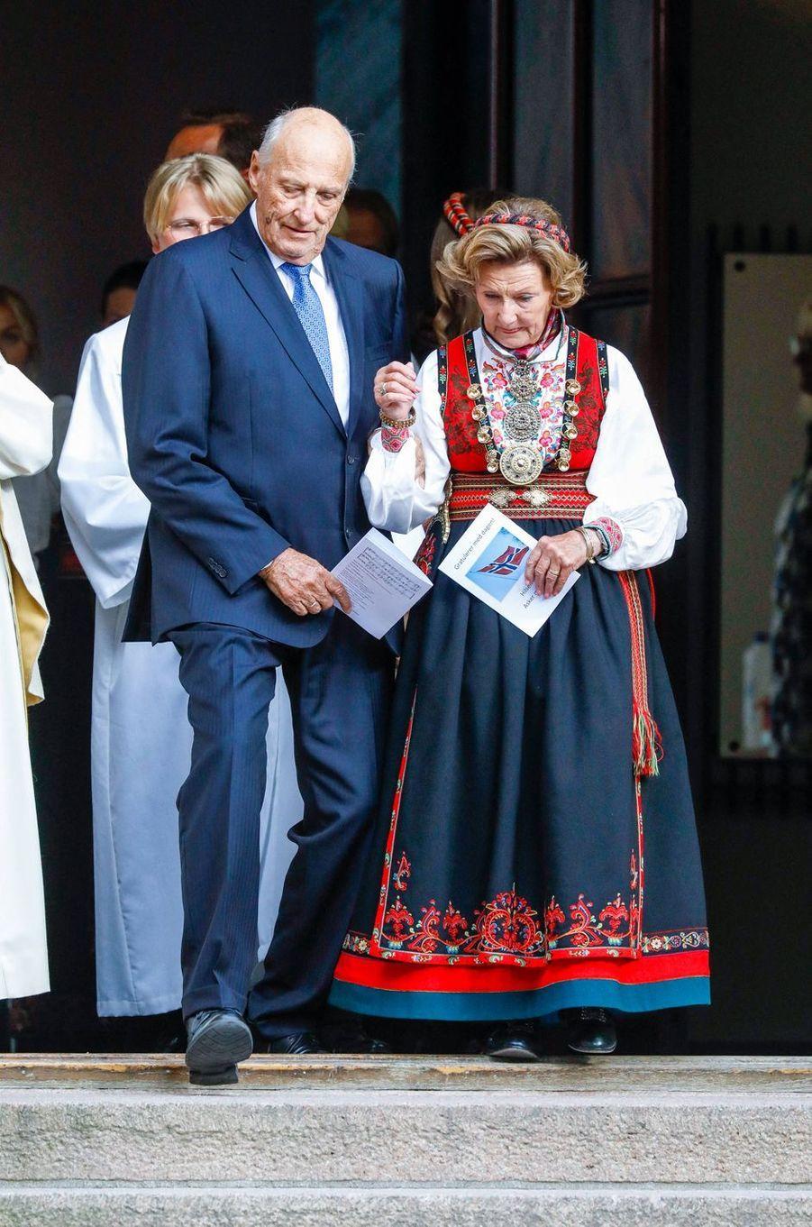 Le roi Harald V et la reine Sonja de Novège à Asker, le 5 septembre 2020