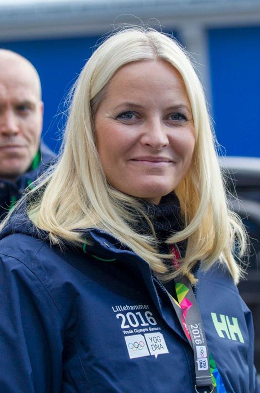 La princesse Mette-Marit de Norvège aux JOJ à Lillehammer, le 12 février 2016