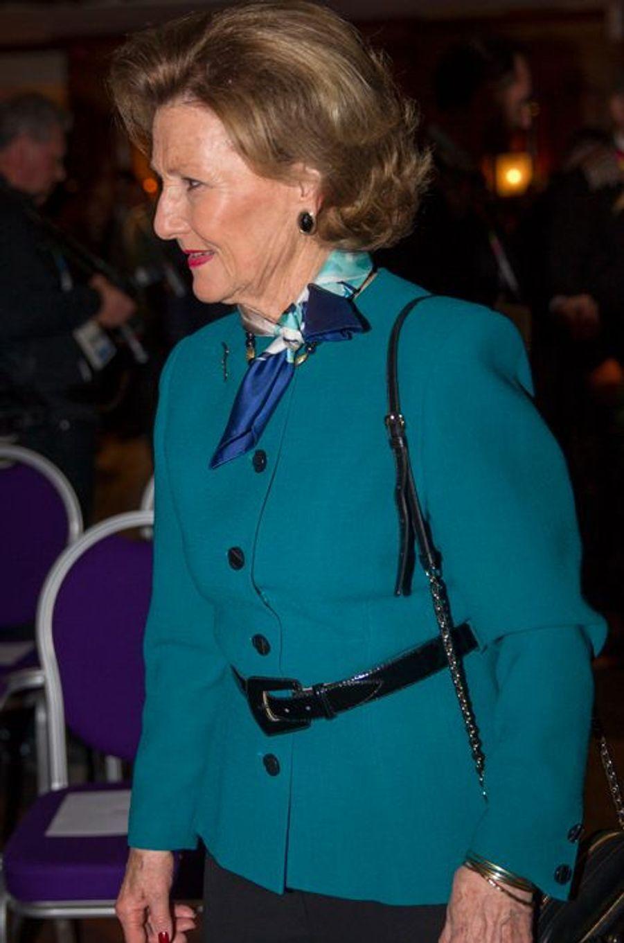La reine Sonja de Norvège aux JOJ à Lillehammer, le 12 février 2016