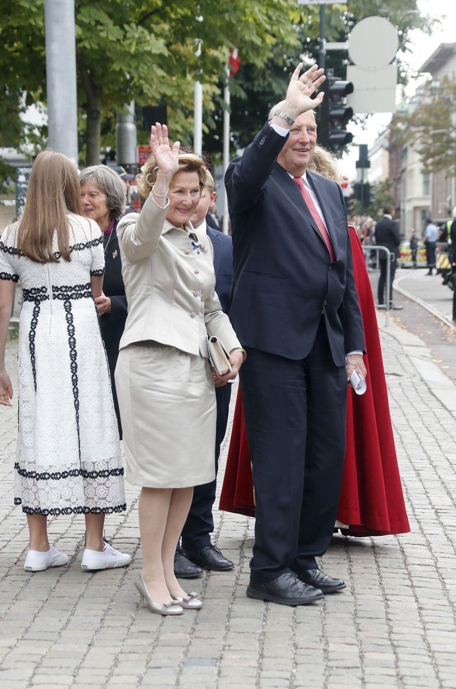 La reine Sonja et le roi Harald V de Norvège à Oslo, le 29 août 2018, jour de leurs 50 ans de mariage