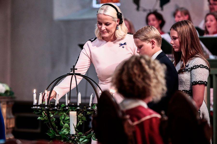 Les princesses Mette-Marit et Ingrid Alexandra et le prince Sverre Magnus de Norvège à Oslo, le 29 août 2018