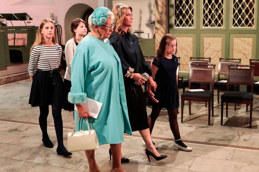La princesse Astrid et le princesse Märtha Louise de Norvège avec ses filles à Oslo, le 29 août 2018
