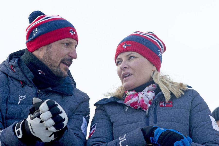La princesse Mette-Marit et le prince Haakon de Norvège, le 28 février 2015
