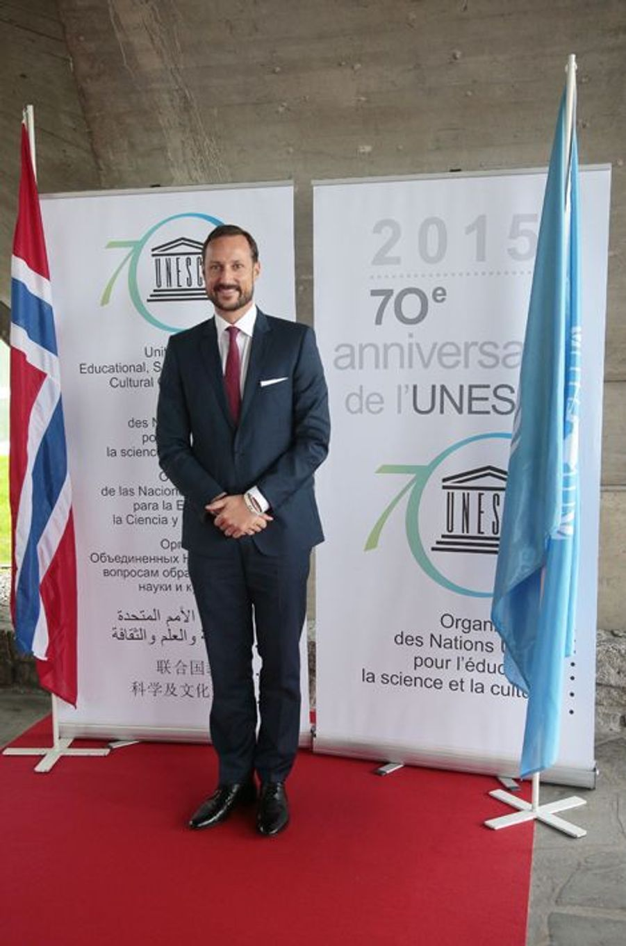 Le prince Haakon de Norvège à l'Unesco à Paris, le 2 novembre 2015