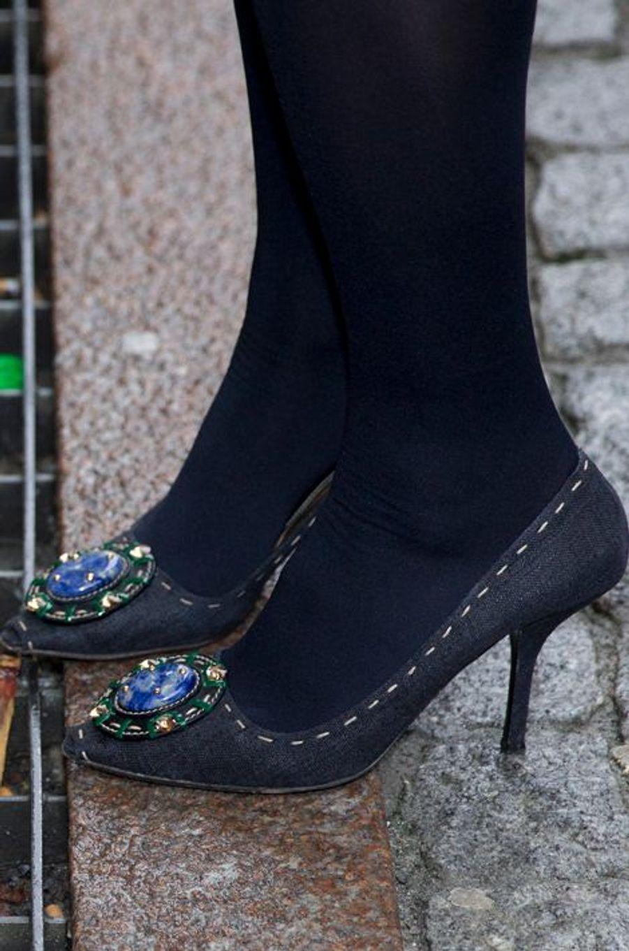 Les chaussures de la princesse Mette-Marit de Norvège à Oslo, le 3 novembre 2015