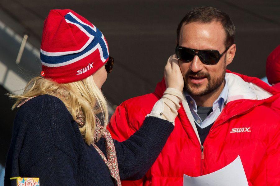 La princesse Mette-Marit et le prince Haakon de Norvège à Oslo, le 15 mars 2015