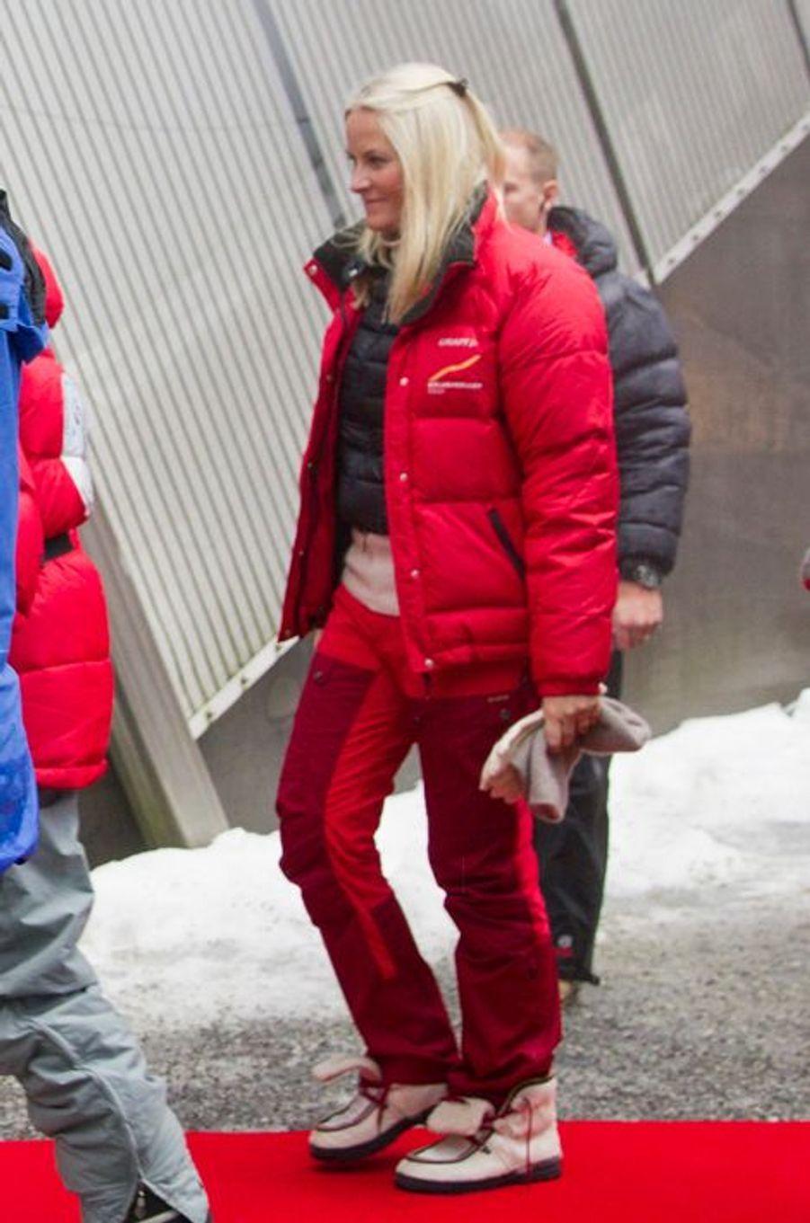 La princesse Mette-Marit de Norvège à la Holmenkollen FIS World Cup Nordic à Oslo, le 7 février 2016