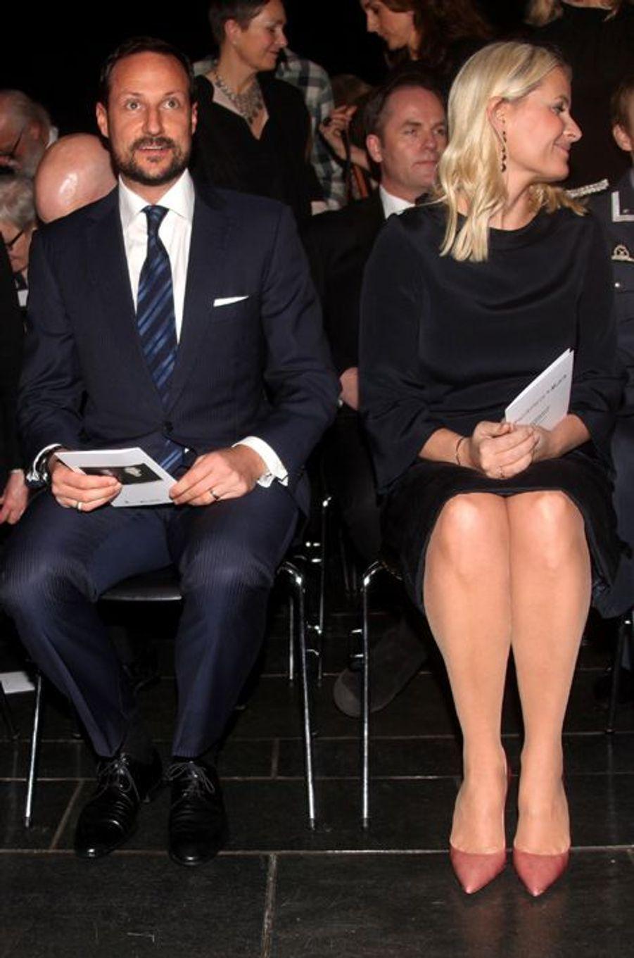 La princesse Mette-Marit et le prince Haakon de Norvège au musée Munch à Oslo, le 5 février 2016