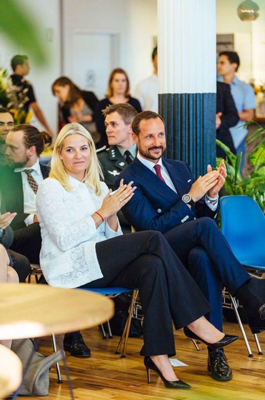 La princesse Mette-Marit et le prince Haakon de Norvège à New York, le 8 octobre 2015