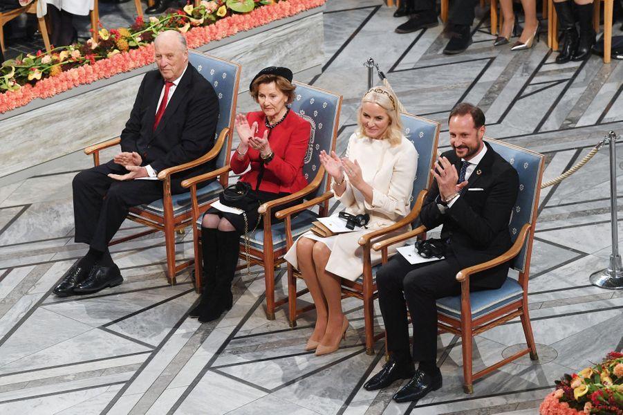 Le roi Harald V, la reine Sonja, la princesse Mette-Marit et le prince Haakon de Norvège à Oslo, le 10 décembre 2019