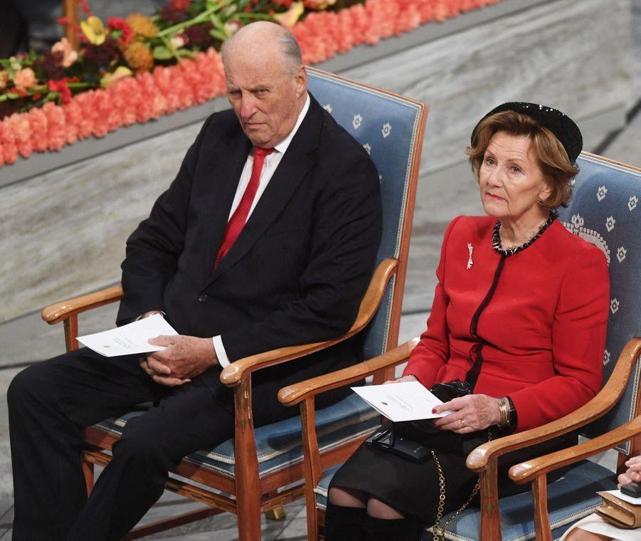La reine Sonja et le roi Harald V de Norvège à Oslo, le 10 décembre 2019