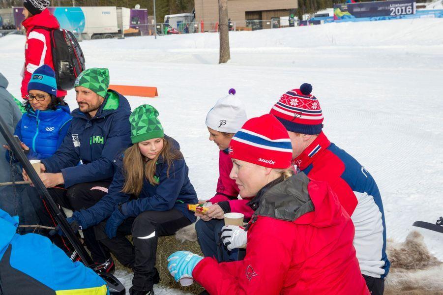 La princesse Ingrid Alexandra et le prince Haakon de Norvège à Lillehammer, le 13 février 2016