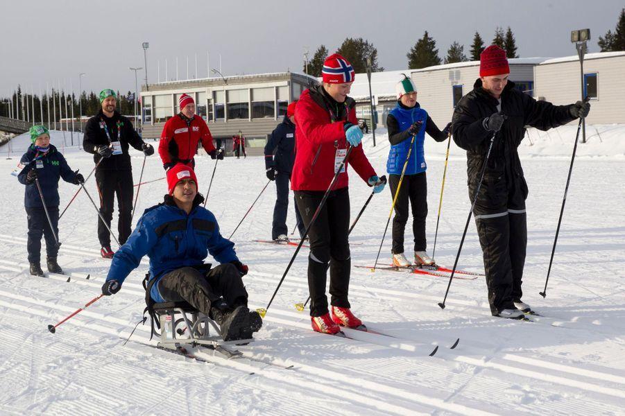 La princesse Mette-Marit et les princes Haakon et Sverre Magnus de Norvège à Lillehammer, le 13 février 2016
