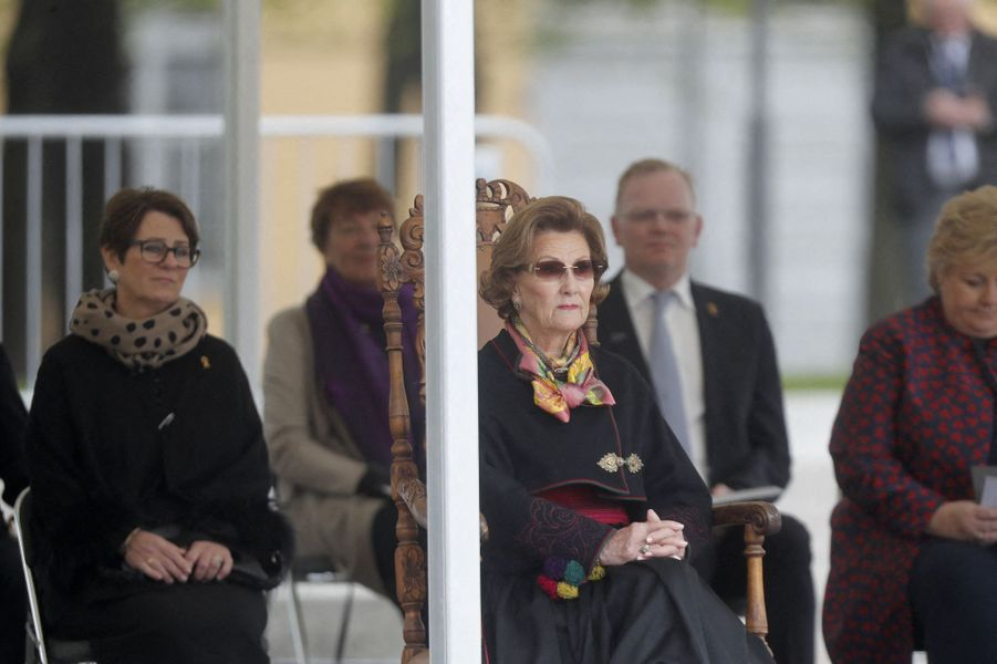 La reine Sonja de Norvège à Oslo, le 8 mai 2020