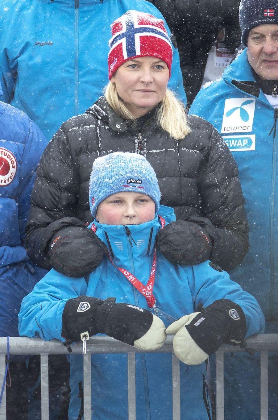 La princesse Mette-Marit et le prince Sverre Magnus de Norvège à Are, le 10 février 2019