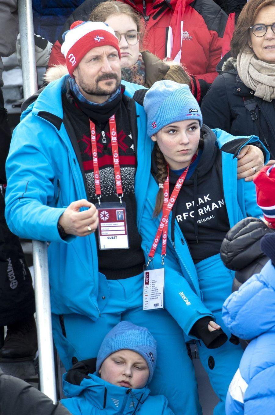 La princesse Ingrid Alexandra et le prince Sverre Magnus de Norvège à Are, le 10 février 2019