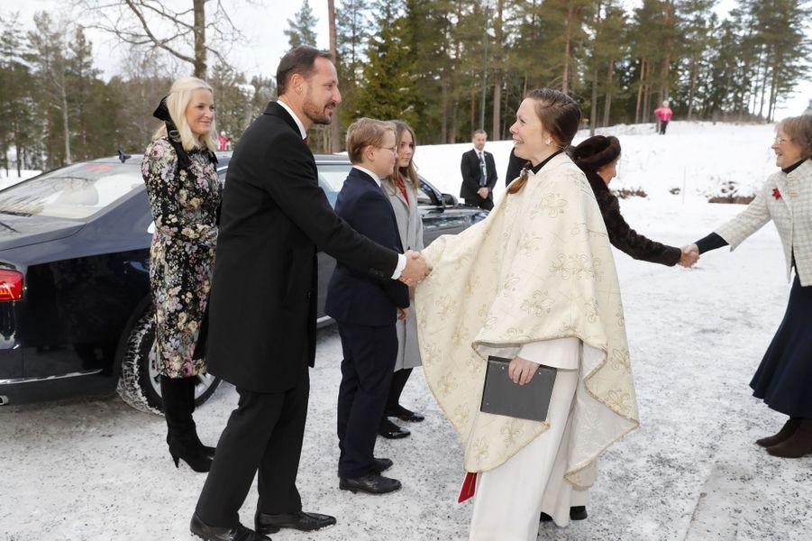 Les princesses Mette-Marit et Ingrid Alexandra et les princes Haakon et Sverre Magnus de Norvège à Oslo, le 25 décembre 2018