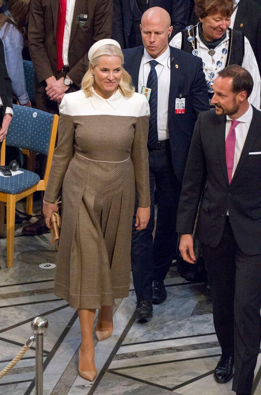 La princesse Mette-Marit et le prince Haakon de Norvège à Oslo, le 10 décembre 2018