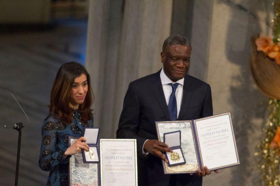 Nadia Murad et Denis Mukwege, prix Nobel de la paix 2018 à Oslo, le 10 décembre 2018