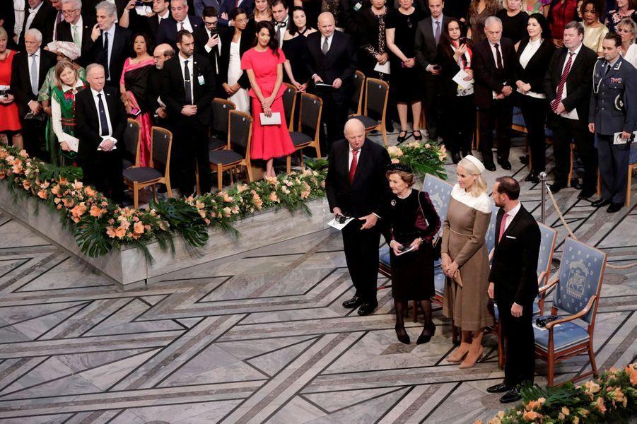 Le roi Harald V, la reine Sonja, la princesse Mette-Marit et le prince Haakon de Norvège à Oslo, le 10 décembre 2018