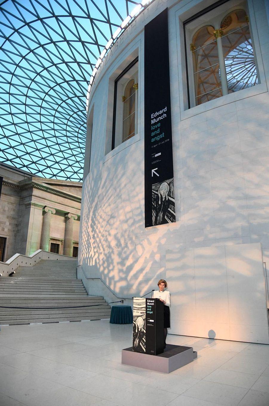 La reine Sonja de Norvège, le 9 avril 2019 à Londres