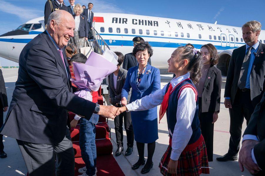 Le roi Harald V de Norvège à Dunhuang, le 11 octobre 2018