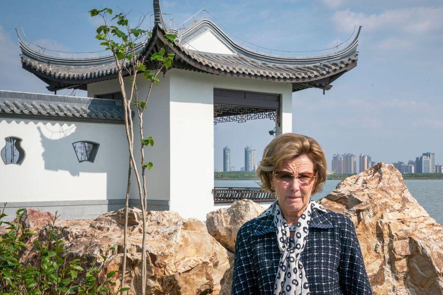 La reine Sonja de Norvège à Changsu, le 19 octobre 2018