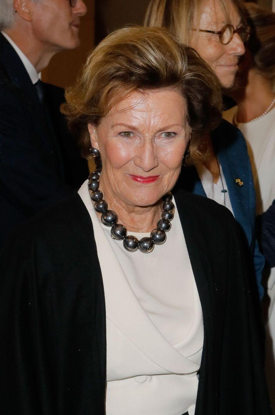 La reine Sonja de Norvège, le 23 septembre 2018 à Sèvres