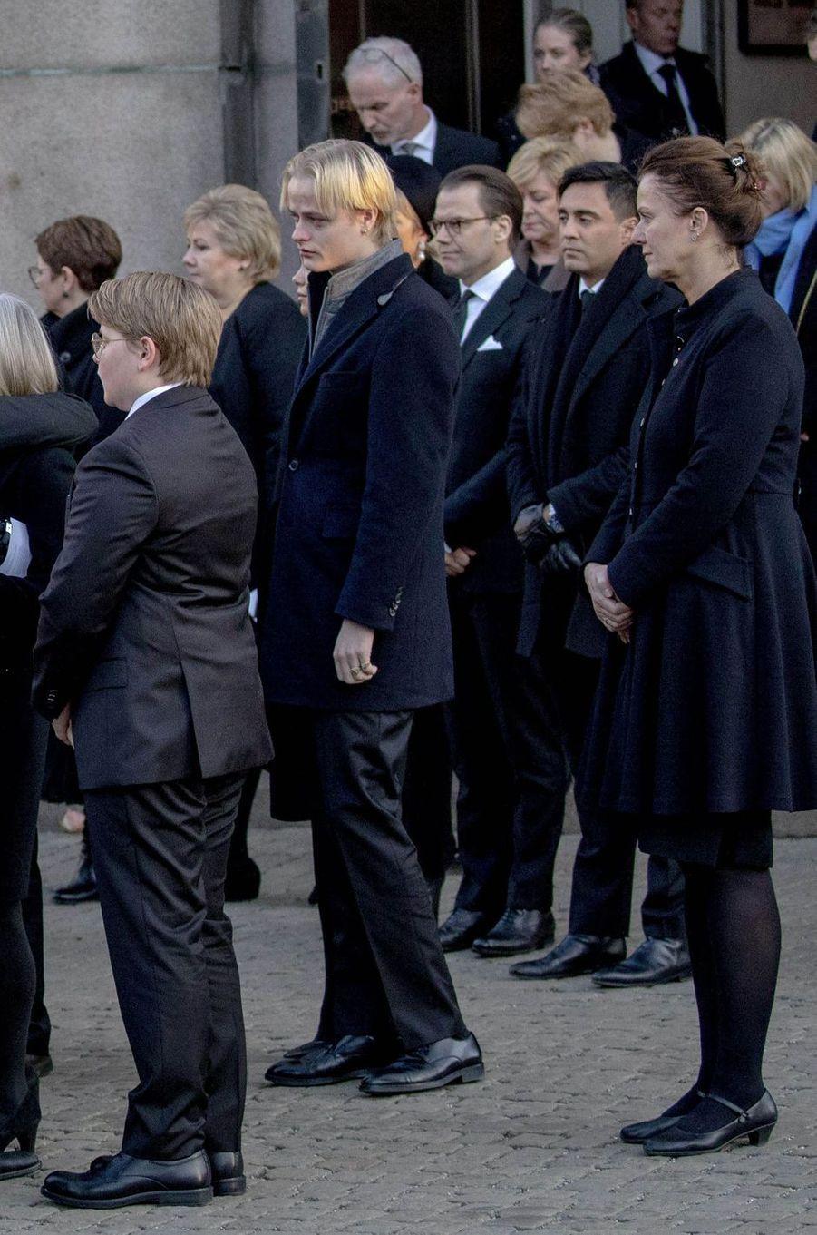 Le prince Sverre Magnus de Norvège, Marius Borg Hoiby et le prince consort Daniel de Suède, à Oslo le 3 janvier 2019