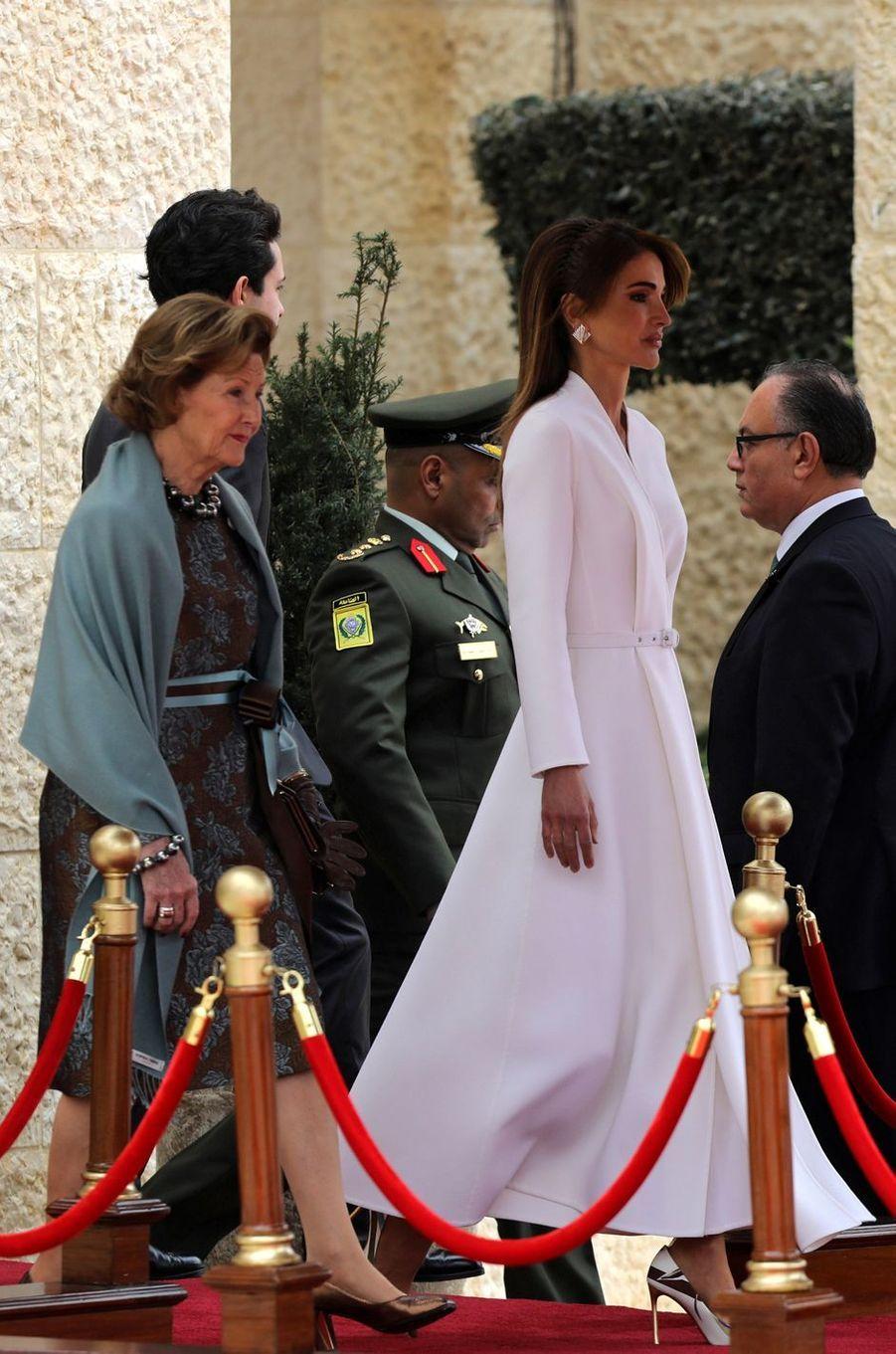 Les reines Sonja de Norvège et Rania de Jordanie à Amman, le 2 mars 2020