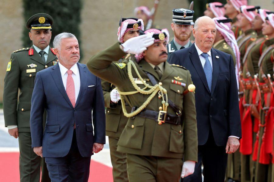 Les rois Abdallah II de Jordanie et Harald V de Norvège à Amman, le 2 mars 2020