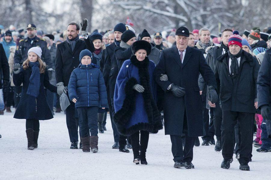 La famille royale de Norvège à Oslo, le 17 janvier 2016
