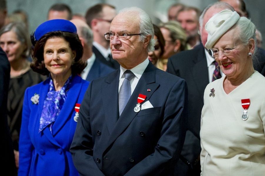 La reine Silvia et le roi Carl XVI Gustaf de Suède et la reine Margrethe II de Danemark à Oslo, le 17 janvier 2016