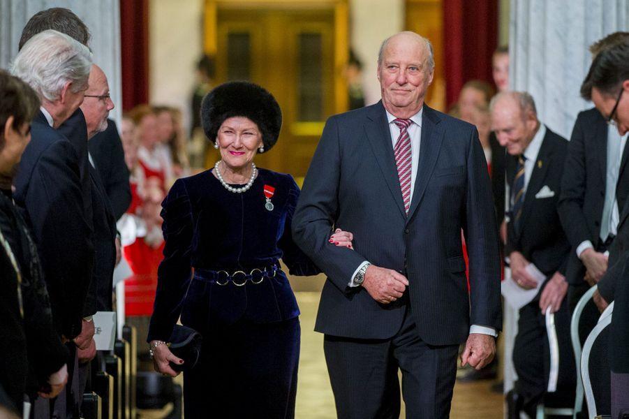 La reine Sonja et le roi Harald V de Norvège à Oslo, le 17 janvier 2016