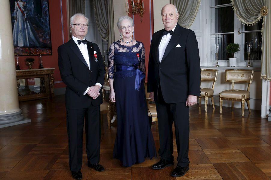 Le roi Carl XVI Gustaf de Suède, la reine Margrethe II de Danemark et le roi Harald V de Norvège à Oslo, le 17 janvier 2016