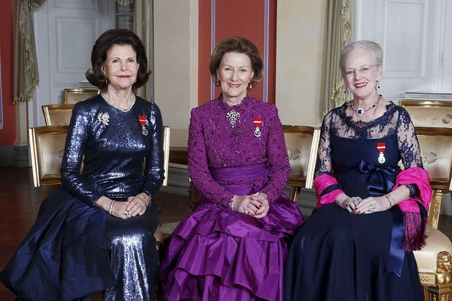 Les reines Silvia de Suède, Sonja de Norvège et Margrethe II de Danemark à Oslo, le 17 janvier 2016