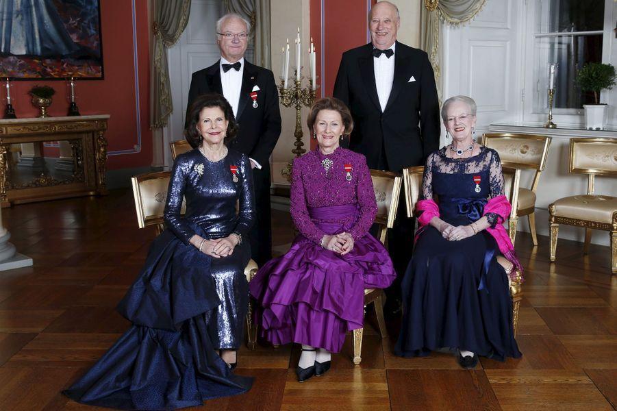 Les rois et reine de Suède et de Norvège et la reine du Danemark à Oslo, le 17 janvier 2016