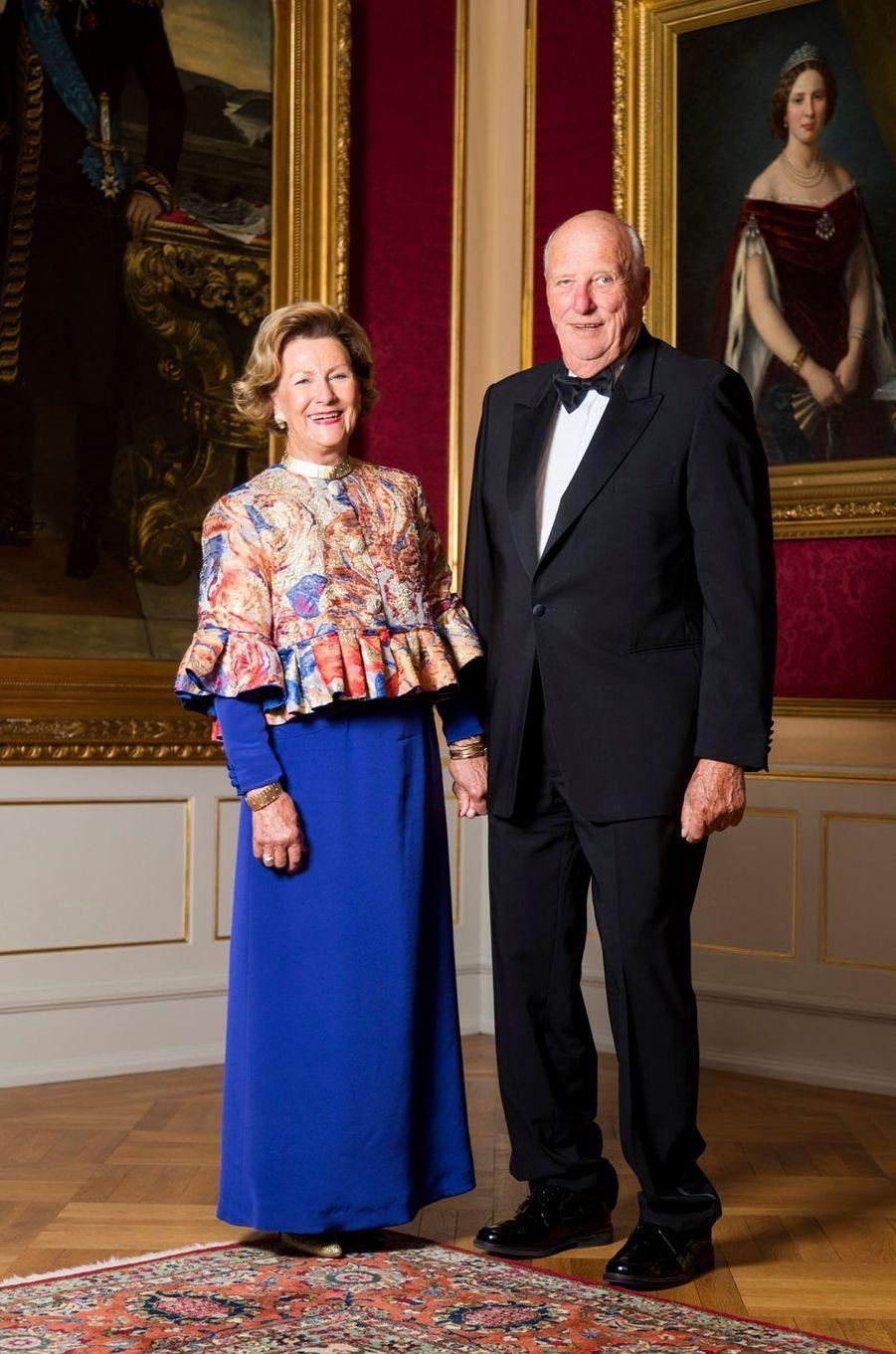 La reine Sonja et le roi Harald V de Norvège au Palais royal à Oslo, le 29 août 2018