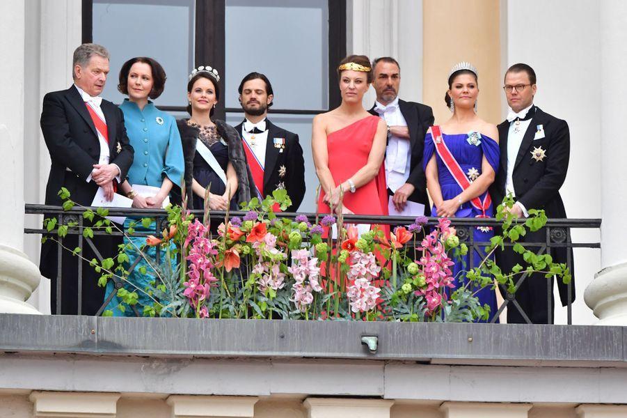Le couple présidentiel finlandais, la princesse Sofia et le prince Carl Philip de Suède, Desiree Kogevinas, Carlos Eugster, la princesse Victoria et le prince Daniel de Suède