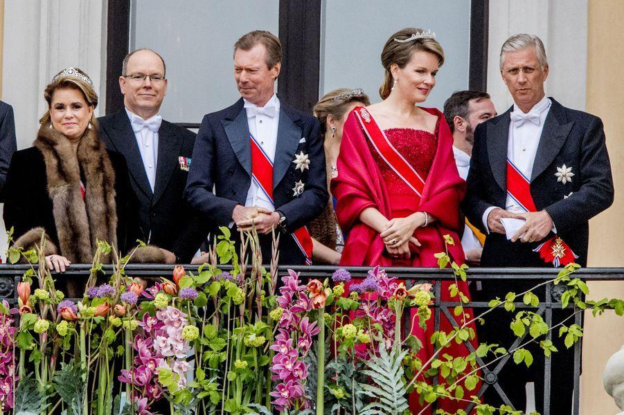 La famille grand-ducale de Luxembourg, le prince Albert II de Monaco et le roi des Belges Philippe et la reine Mathilde