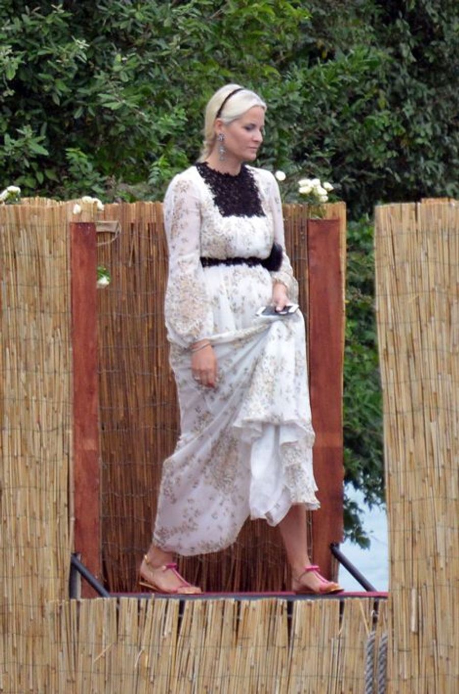 La princesse Mette-Marit de Norvège sur l'île San Giovanni, le 1er août 2015