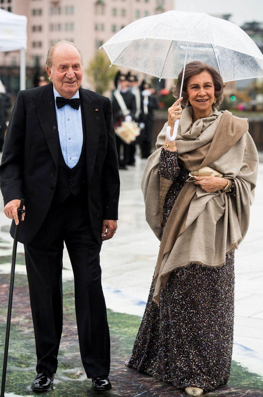 L'ancien roi Juan Carlos et l'ancienne reine Sofia d'Espagne à Oslo, le 10 mai 2017