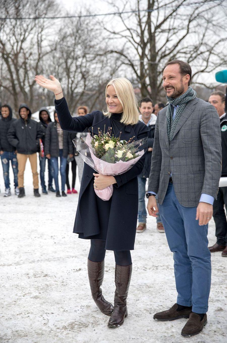 Le prince Haakon et la princesse Mette-Marit de Norvège à Oslo le 15février 2017