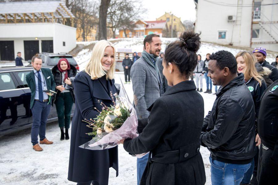 La princesse Mette-Marit et le prince Haakon de Norvège à Oslo, le 15 février 2017