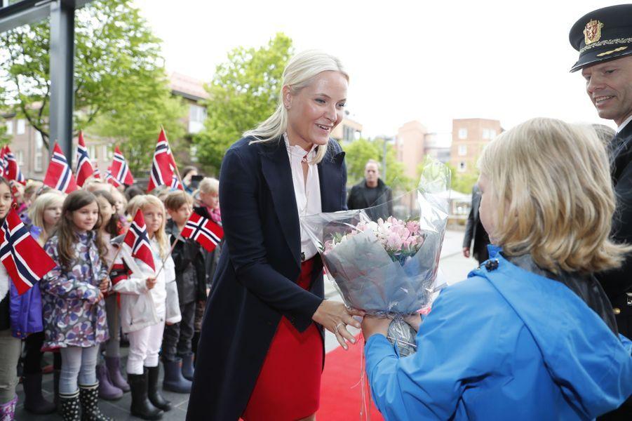 La princesse Mette-Marit de Norvège dans le cadre de la manifestation du Train de la littérature 2017, dans le sud du pays, le 7 juin 2017
