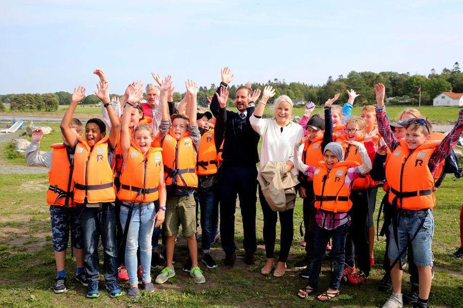 La princesse Mette-Marit et le prince Haakon de Norvège à Kragero, le 31 août 2016
