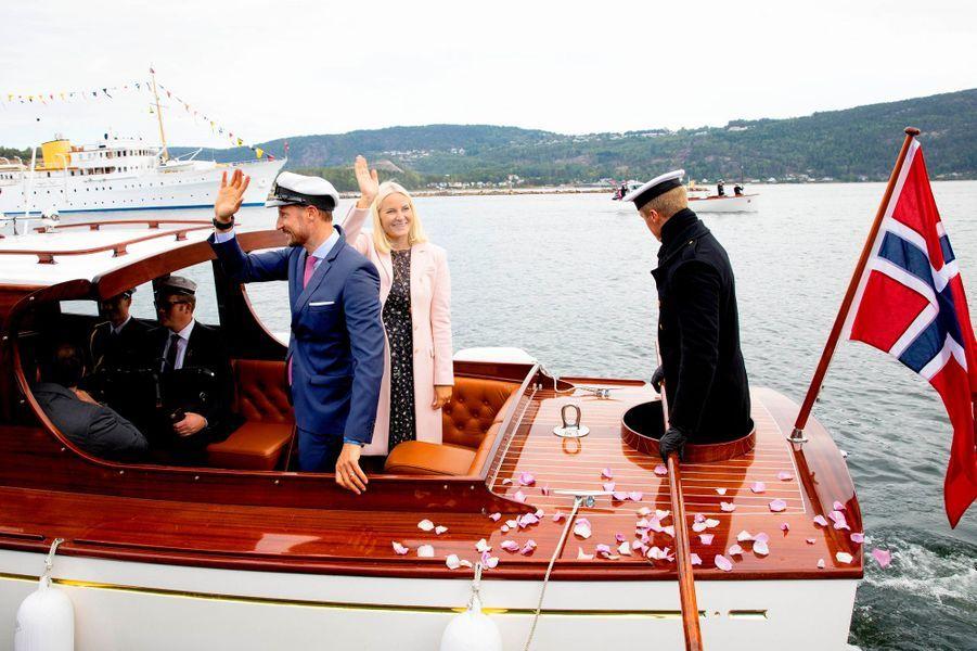 La princesse Mette-Marit et le prince Haakon de Norvège à Svelvik, le 4 septembre 2018