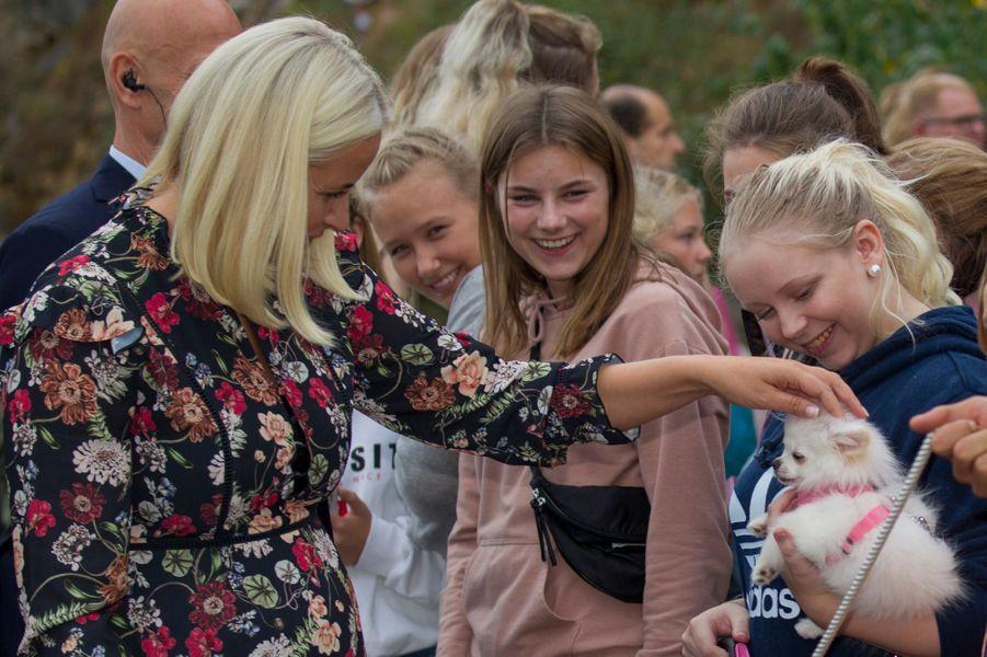 La princesse Mette-Marit de Norvège à Holmestrand, le 4 septembre 2018