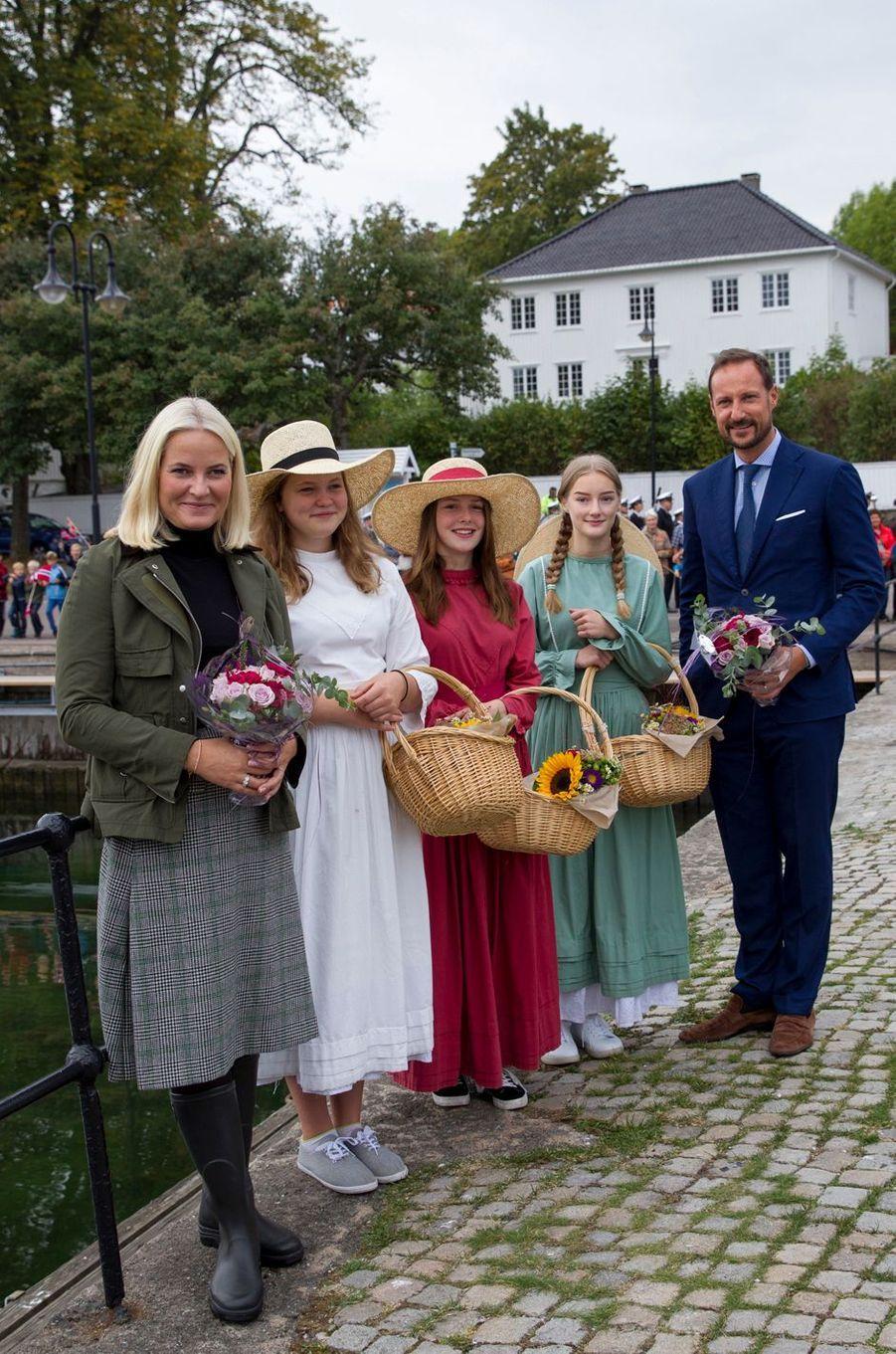 La princesse Mette-Marit et le prince Haakon de Norvège à Asgardstrand, le 5 septembre 2018