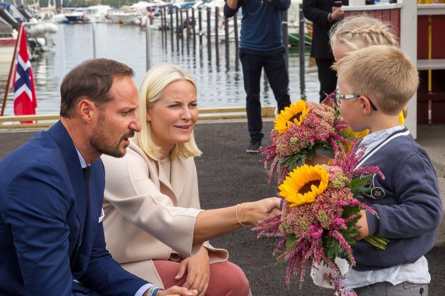 La princesse Mette-Marit et le prince Haakon de Norvège à Notteroy, le 5 septembre 2018